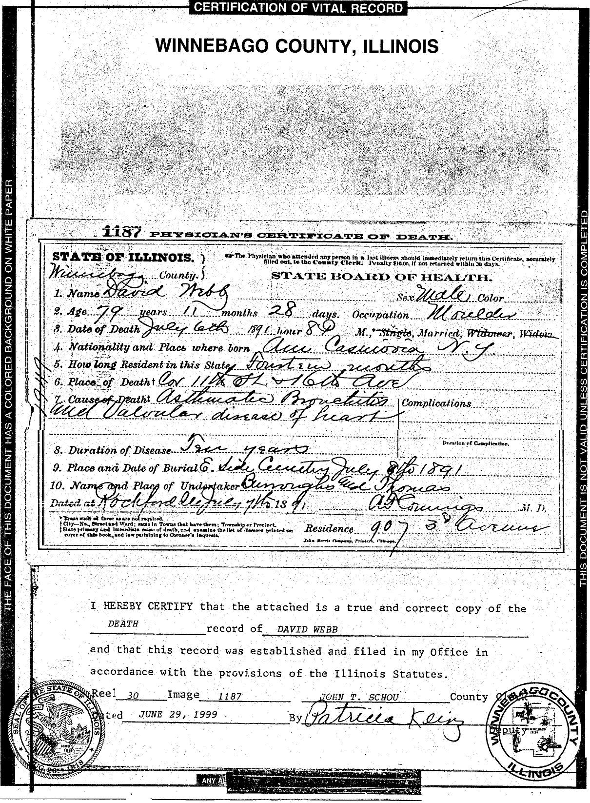 Webb genealogical findings vital records david webb death certificate rockford winnebago county illinois 1891 aiddatafo Choice Image